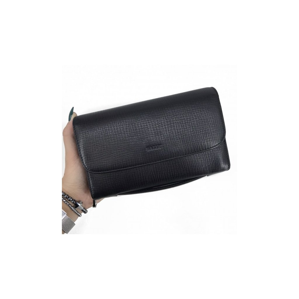 BALLY Black Leather Clutch