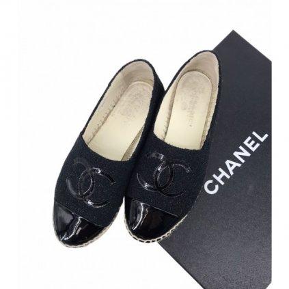 CHANEL CC Logo Glitter Tweed Espadrilles
