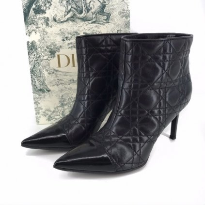 CHRISTIAN DIOR Black Leather Ankle Heels