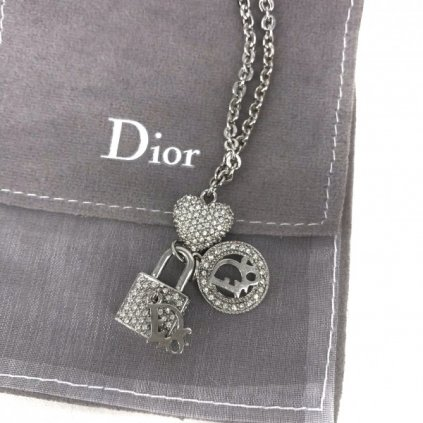 CHRISTIAN DIOR Silver Necklace with Charms