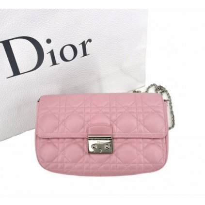 CHRISTIAN DIOR Miss Dior Promenade Pink Lambskin Leather Clutch Bag