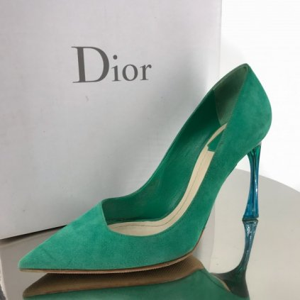 Christian Dior green suede heels