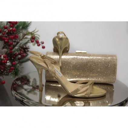JIMMY CHOO India Gold Glitter Sandals 38
