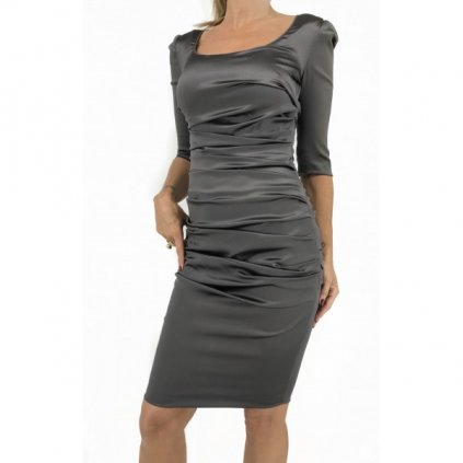 DOLCE & GABBANA Shiny Grey Silk Dress NEW