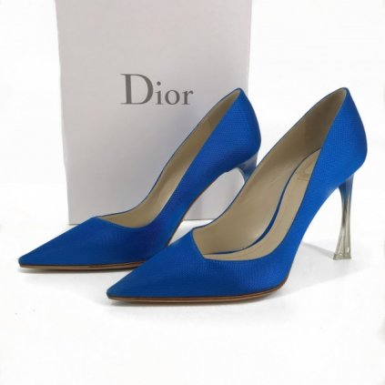 CHRISTIAN DIOR Shoes Bright Blue Silk Hombre Lucite 37,5