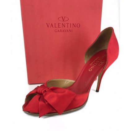 VALENTINO Bow D'orsay Red Satin Heels