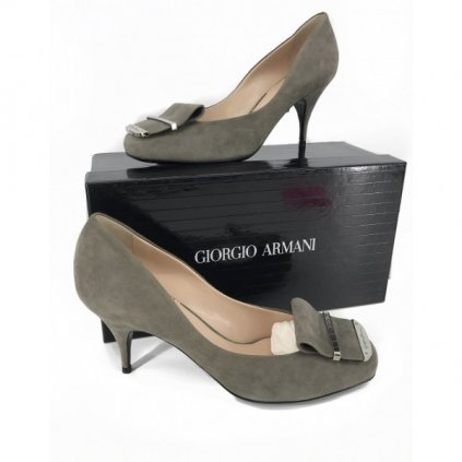 GIORGIO ARMANI Grey Suede High Heels NEW