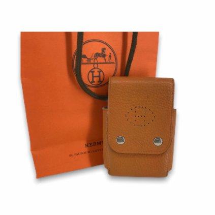 HERMÉS Beige Leather Card Holder