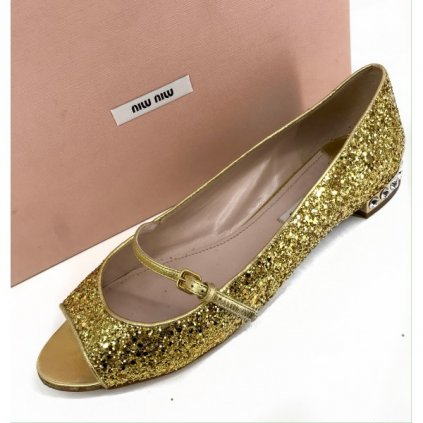 MIU MIU Gold Ballerinas with Swarovski Elements 41
