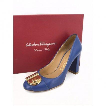 SALVATORE FERRAGAMO Blue Mid Heels
