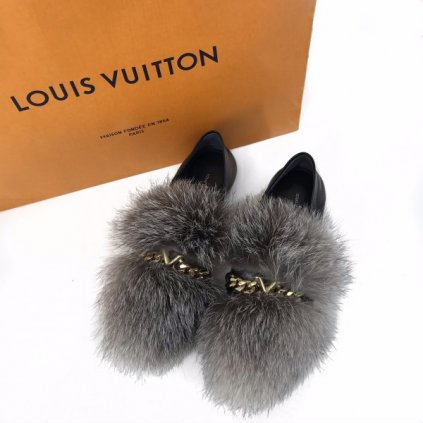 LOUIS VUITTON Black Upper Case Loafer with Fur