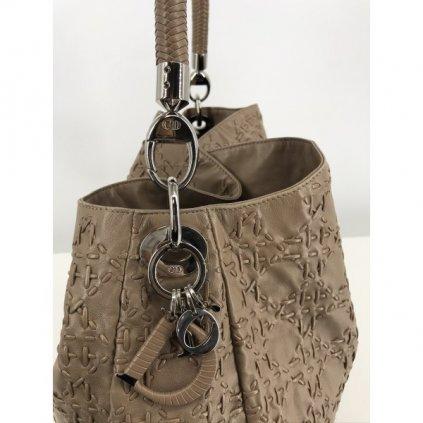 CHRISTIAN DIOR Cannage Stitched Tan Leather Shoulder Hobo Bag