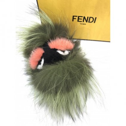 FENDI Green Fox Fur and Leather Cube 'Kooky' Monster Bag Bug Key Chain and Bag Charm NEW