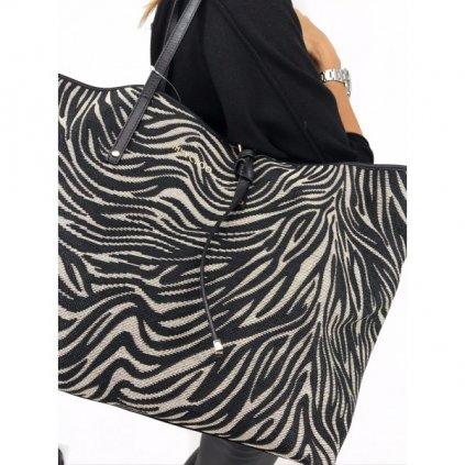 JIMMY CHOO Sasha Zebra Print Raffia Large Tote Bag