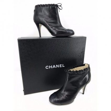 CHANEL Black Ankle Heels