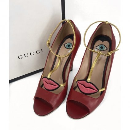 GUCCI Molina Lips Leather Pump