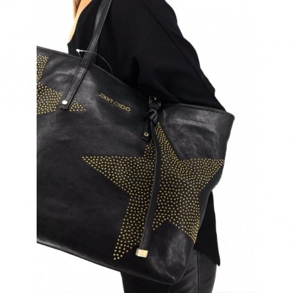 JIMMY CHOO Star Studded Black Leather Bag