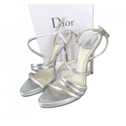 CHRISTIAN DIOR Silver Heel Sandals