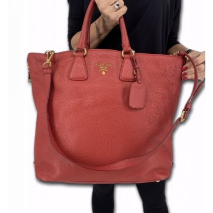 PRADA Red Leather Bag with Strap