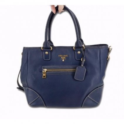PRADA Dark Blue Leather Shoulder Bag with Strap