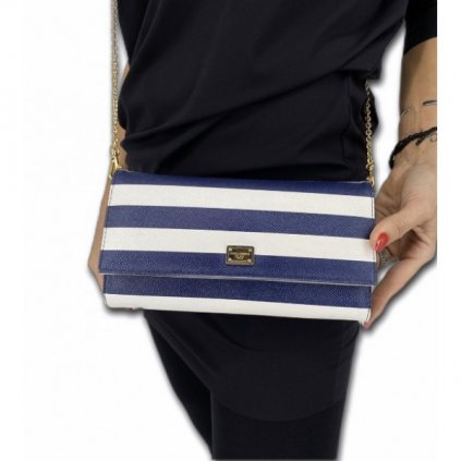 DOLCE & GABBANA Navy Striped Leather Crossbody Clutch