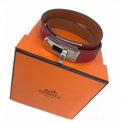HERMÉS Tradesy Kelly Women's Double Tour Maroon Red Leather Silver Palladium Bracelet