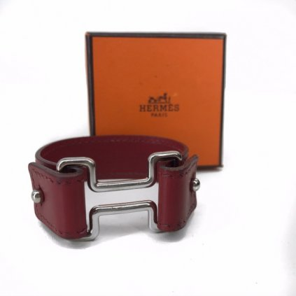 HERMÉS Night Veau Barenia Leather Bracelet