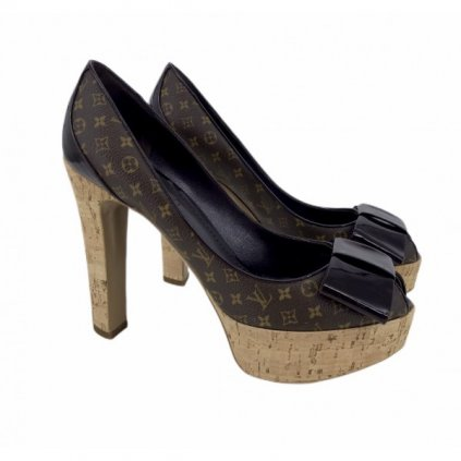 LOUIS VUITTON Rivoli Monogram Canvas Cork Platform Pumps 38,5