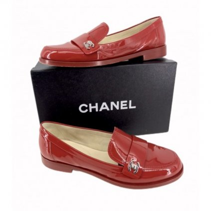 CHANEL Red Patent Leather Moccasins