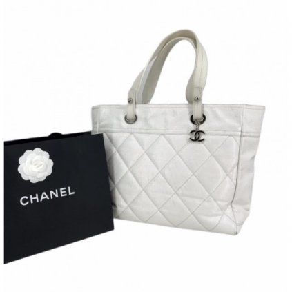 CHANEL White Leather Tote Shoulder Bag