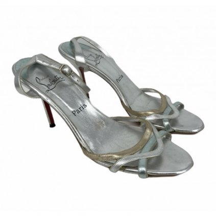CHRISTIAN LOUBOUTIN Silver Sandals on Heels
