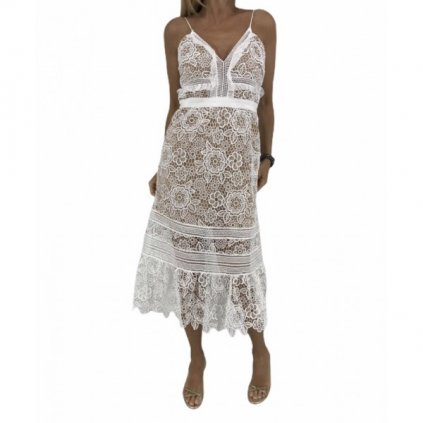 SELF-PORTRAIT White Laced Dress NEW