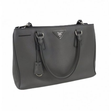 PRADA Galleria Saffiano Lux Large Double Zip Tote - Argilla Grey