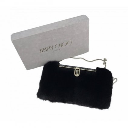 JIMMY CHOO Cay Black mink Clutch NEW