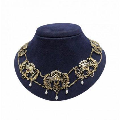 Náhrdelník s brilianty, rubíny a perličkami -sběratelský kousek