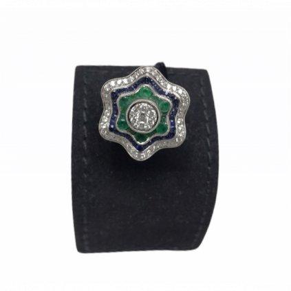 Prsten s brilianty, safíry a smaragdy