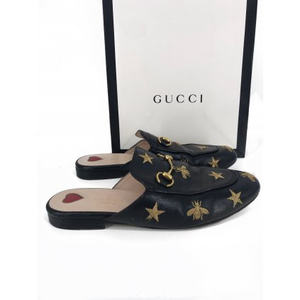 GUCCI Gold & Black Slippers 35,5