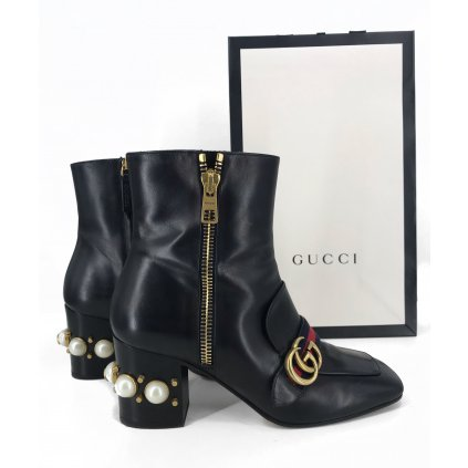 GUCCI Black Leather Pearl-Embellished Ankle Boots
