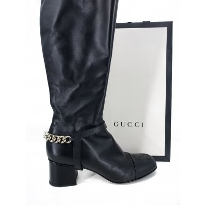 GUCCI High Black Boots With Removable Chain