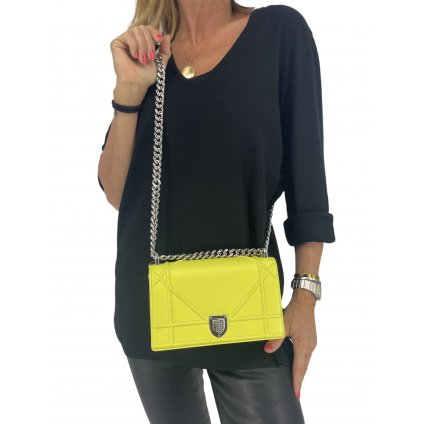 CHRISTIAN DIOR Diorama Flap Bag Small in Yellow NEW