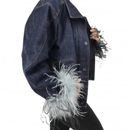 PRADA Denim Jacket with Fur