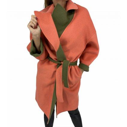 FENDI Fleece Wool Orange And Green Coat