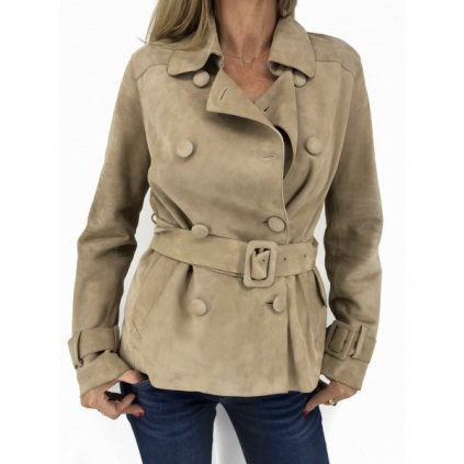 IVANA MENTLOVÁ Beige Leather Coat NEW