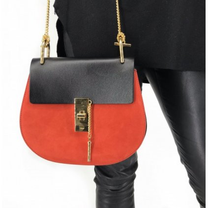 CHLOÉ Suede Smooth Calfskin Small Drew Crossbody Plaid Red Black NEW