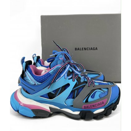 BALENCIAGA Blue Pink Track Sneakers NEW 37