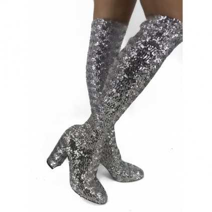 DOLCE & GABBANA Glitter Knee-High Boots NEW