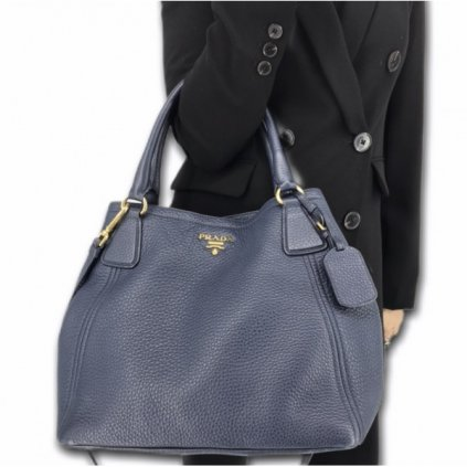 PRADA Dark Blue Leather Bag