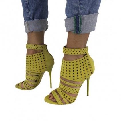 JIMMY CHOO Malika Yellow Suede Sandals