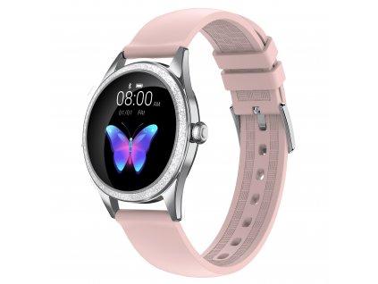 ARMODD Candywatch Crystal 2 stříbrná s růžovým řemínkem