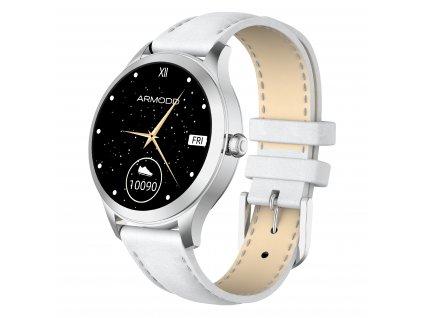 ARMODD Candywatch Premium 2 stříbrná s bílým koženým řemínkem